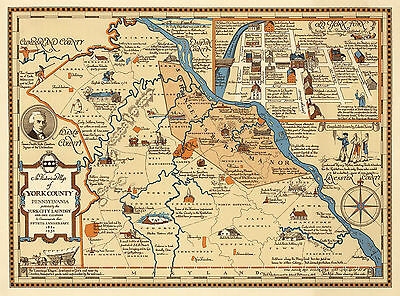 1932 Pictorial Historical Map of York County, Pennsylvania Wall Art Poster Decor