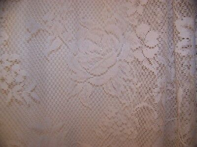 "VINTAGE ANTIQUE WHITE LACE CROCHET SCALLOP EDGE CURTAIN ROSE FLORAL  88"" x 57"""