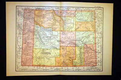 Antique Color Map 1903 State of Wyoming 10x14 Rand McNally
