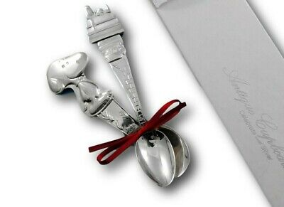Peanuts Snoopy Child Baby Infant Feeding Spoon Set 2-Piece Silverplate Gift New