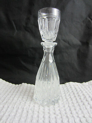 large clear cut glass perfume bottle w/ large stopper flame pattern