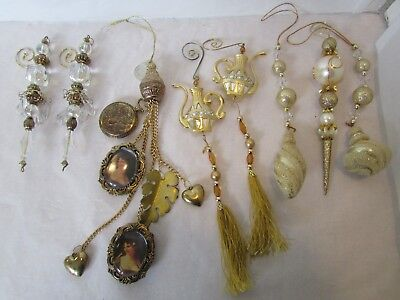 Victorian Inspired Beaded Icicle Christmas Ornament Lot Set Gold Charms Ornament