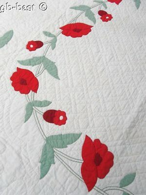 Red Poppy! c 1930s Applique Vintage QUILT Webster Inspired 20th Celebration!
