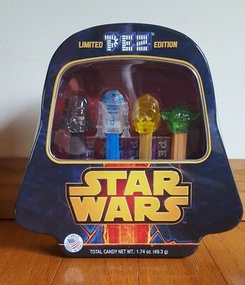 Limited Edition Star Wars PEZ Tin Darth Vader R2D2 Yoda C3P0 New in Tin!