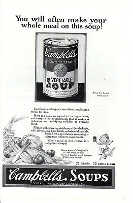 1924 Vintage print ad Campbell's Soup Kid Food art AT&T Bell building telephone