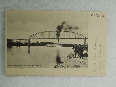 1907 Photo Postcard Packet Boat Steamer & Bridge Red Wing MN Minnesota