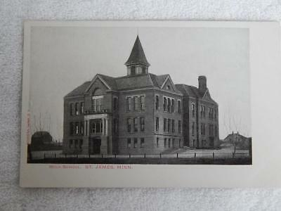 1906 Photo Postcard High School St. James MN Minnesota