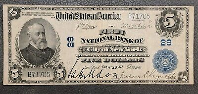 First NB of the City of New York NY CH# 29 - 1902 $5 NATIONAL BANK NOTE