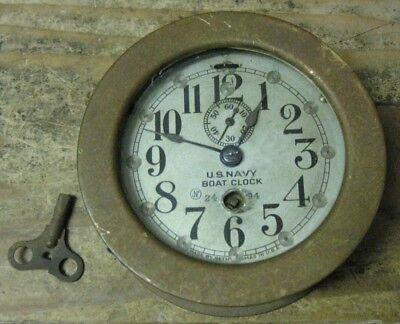 Seth Thomas US Navy Boat Clock w/ Key WORKS! Solid Brass