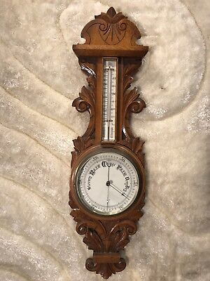 Large Vintage Antique English Victorian Barometer And Thermometer Oak Wood Case