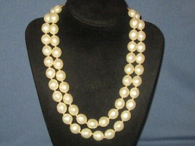 Vintage Signed CROWN TRIFARI Gold-Tone Metal Two Strand Faux Pearl Bead Necklace