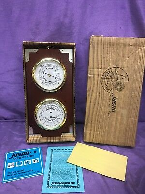 Vintage Jason Weather Barometer Thermometer Humidity Wall Hanging Real Wood NOS