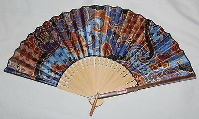 "Vintage Bali Indonesia Hand Fan Bamboo Cloth Blue Brown Gold Swirl 19"" Hand Made"