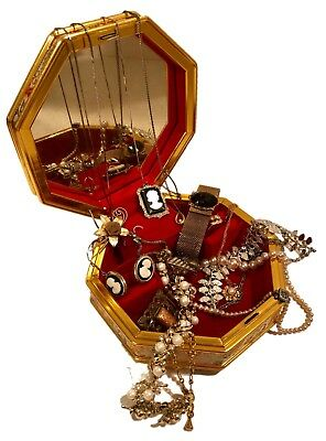 Large Vintage Estate Mixed Jewelry Lot Music Jewelry Box Untested Cameo