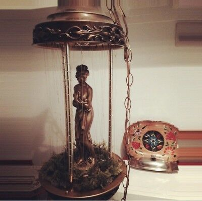 Vintage Mid Century Nude Goddess Bathing Oil Rain Lamp