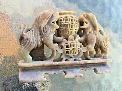 Vintage Chinese Hand Carved Soap Stone Foo Dog Lion