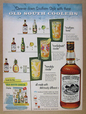 1953 Southern Comfort 100 Proof Old South Coolers drink recipes vintage print Ad
