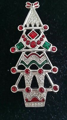 Rare Swan Signed Swarovski Crystal Enamel Christmas Tree Pin Brooch