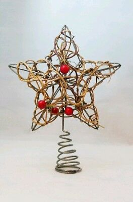 "Star Tree Topper Small Rattan Twig Berries Christmas Natural 6"" Kurt Adler"