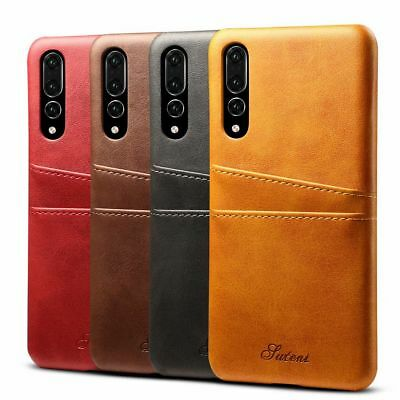 Genuine Leather Back Wallet Case Cover Card Slot Holder For Huawei P20 / P20 Pro