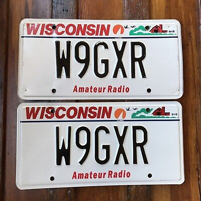 Wisconsin AMATEUR RADIO License Plate PAIR Specialty Auto Tag W9GXR