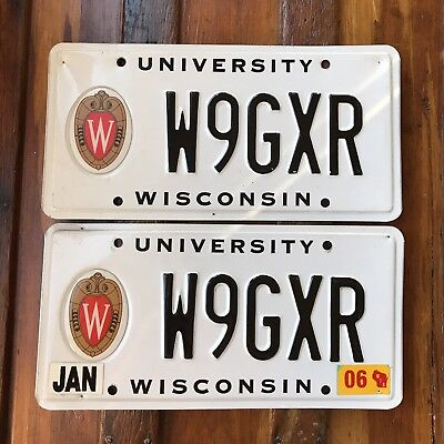 2006 Wisconsin UNIVERSITY of WISCONSIN License Plate PAIR Specialty Tag W9GXR