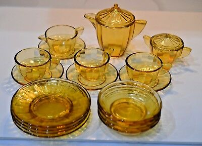Twnety Piece Topaz Amber Depression Glass Play Dishes-Perfect Condition