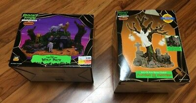 Spooky Town Wolf Pack & Lighted Tree Graveyard Ghost bundle