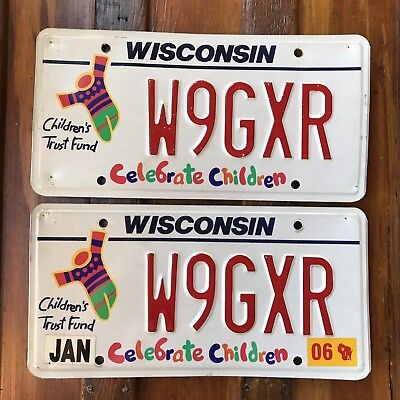 2006 Wisconsin CELEBRATE CHILDREN License Plate PAIR Specialty Tag W9GXR