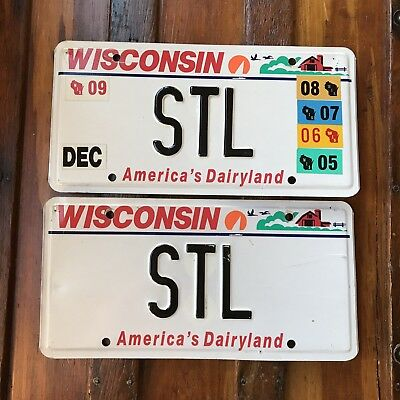 2009 Wisconsin License Plate PAIR Vanity Auto Tag STL