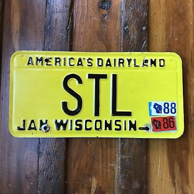 1988 Wisconsin License Plate Vanity America's Dairyland Auto Tag STL