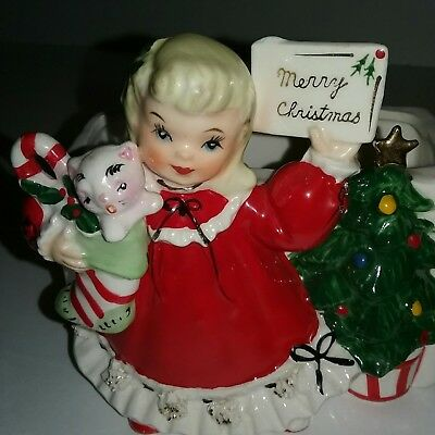 Vintage Relpo Merry Christmas girl with cat in stocking