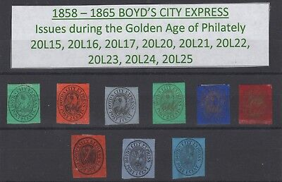 1858-1865 Golden Age of Philately BOYD'S CITY EXPRESS Local Post Stamps GENUINE!