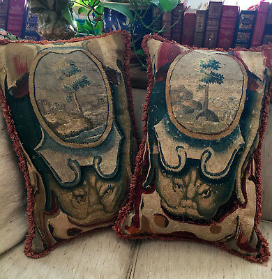 """17TH CENTURY ANTIQUE FLEMISH TAPESTRY PAIR of PILLOWS 24"""" X 16"""""""