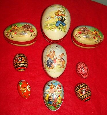 5 Vintage German Easter Egg Candy Containers w/ Bunnys +4 Wooden Russian Eggs