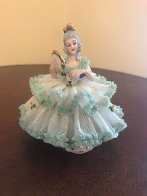 ANTIQUE DRESDEN LACE Figurine Lady in Green Dress with Fan Marked