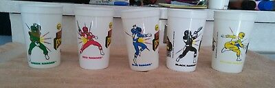1994 Saban Mighty Morphin Power Rangers 5 Cup Lot Red Green Yellow Blue Black