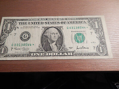 $1 *Star Note* 2001  One Dollar Federal Reserve Money Chicago # G03138544*