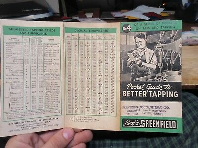 Greenfield Better Tapping Drill Press Chart Screw Sizes Akron Canton OHio Die Co