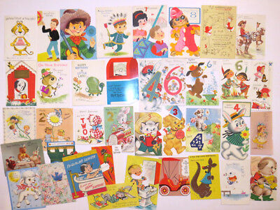 Lot of 38 vintage Birthday Greeting Cards early 60s Mostly Boys