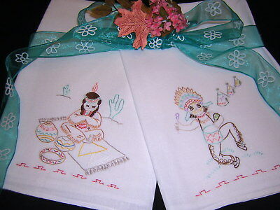 WONDERFUL SET! Southwest Vtg Towels Hand Embroidered Kitchen Bath NEVER USED