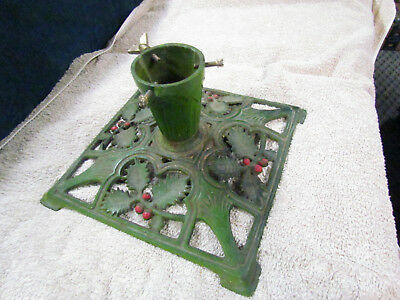 Antique Cast Iron Christmas Tree Stand - Tall - Green Red - Holly Berries NICE
