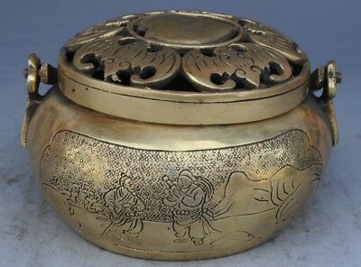 Chinese old copper Wealth 5 Bat Statue Incense Burner Censer Marked e01