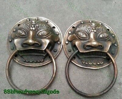 A Pair Lucky foo dog lion Bronze statue Rare door Archaic knocker expel evil
