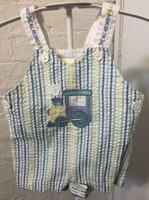 Baby Togs Vintage Baby Boys Size 000 Train Jumpsuit Romper Overalls EUC
