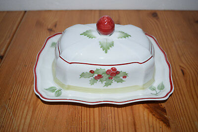 """Villeroy & Boch Joy Noel Covered Butter Dish 8"""" with Lid - Germany"""