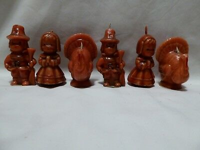 6 Vintage Gurley Thanksgiving Turkey with Pilgrim  Boy and Girl candles.