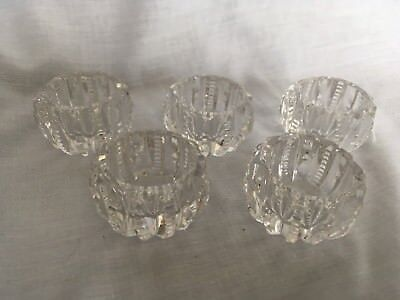 Set of 5 Antique American Brilliant Cut Glass Crystal Open Salt Dip ABP Zipper