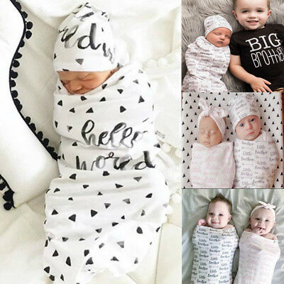AU Newborn Baby Floral Snuggle Swaddling Wrap Blanket Sleeping Bag Swaddle 2Pcs