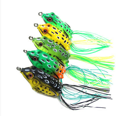 Lot 5 X Cute Frog Topwater Fishing Lures Crankbait Hooks Bass Baits Tackle